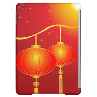 Chinese red paper lanterns with full moon