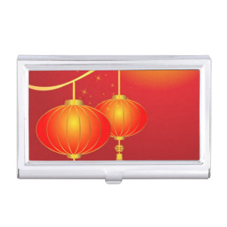 Chinese red paper lanterns with full moon business card holder