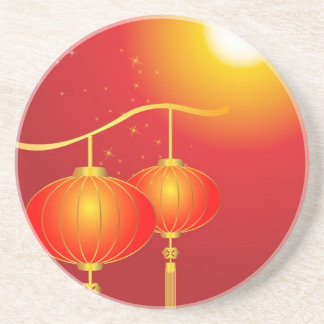 Chinese red paper lanterns with full moon coaster