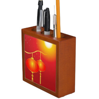 Chinese red paper lanterns with full moon desk organiser