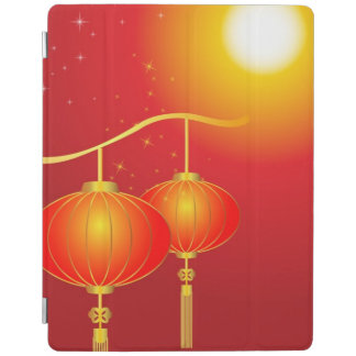 Chinese red paper lanterns with full moon iPad cover