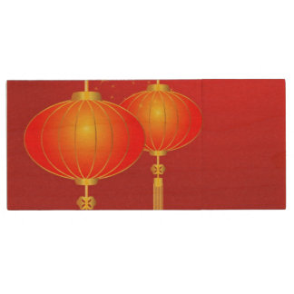 Chinese red paper lanterns with full moon wood USB 2.0 flash drive
