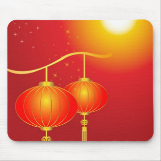 Chinese red paper lanterns with full moon mouse mat