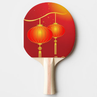 Chinese red paper lanterns with full moon ping pong paddle