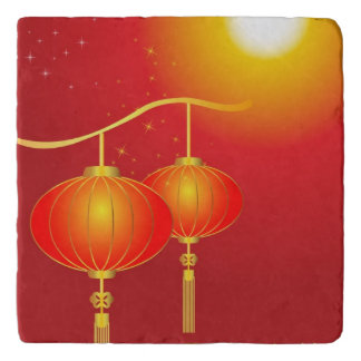 Chinese red paper lanterns with full moon trivet