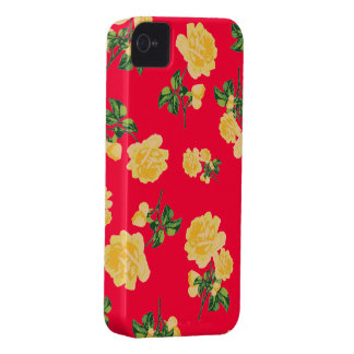 Chinese red yellow roses iphone 4 case
