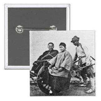 Chinese rickshaw, c.1870 (b/w photo) 15 cm square badge
