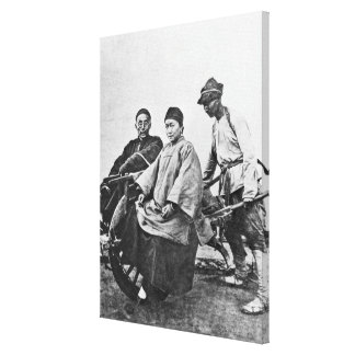 Chinese rickshaw, c.1870 (b/w photo) canvas print