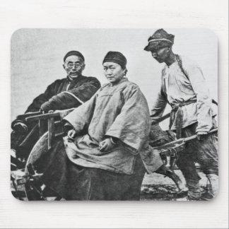Chinese rickshaw, c.1870 (b/w photo) mouse mat