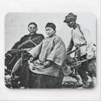 Chinese rickshaw, c.1870 (b/w photo) mouse pad