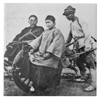 Chinese rickshaw, c.1870 (b/w photo) tile