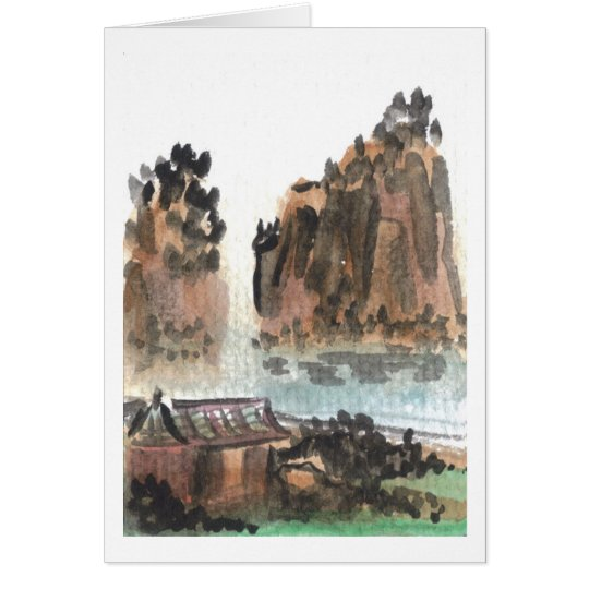 Chinese River Landscape Blank Card