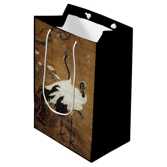 Chinese Scrill Crane Birds Flowers Gift Bag