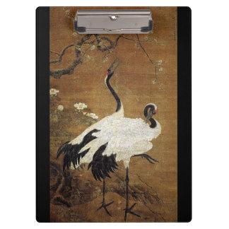 Chinese Scroll Art Crane Birds Flowers Clipboard