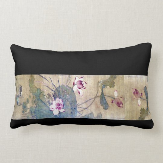Chinese Scroll Art Lotus Floral Ducks Throw Pillow