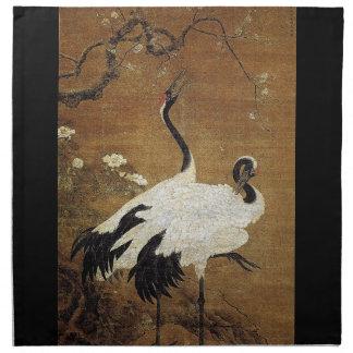 Chinese Scroll Crane Birds Flowers Cloth Napkins