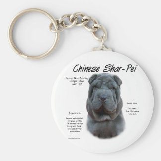 Chinese Shar Pei blue History Design Key Chains