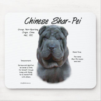 Chinese Shar Pei (blue) History Design Mouse Pads