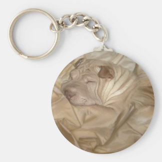 Chinese Shar Pei Camouflaged in Wrinkles Basic Round Button Key Ring