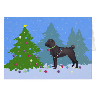 Chinese Shar-Pei Decorating Christmas Tree -forest Greeting Card