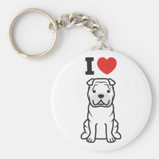 Chinese Shar-Pei Dog Cartoon Basic Round Button Key Ring