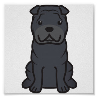Chinese Shar-Pei Dog Cartoon Poster