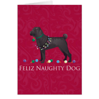 Chinese Shar Pei Feliz Naughty Dog Christmas Desgn Greeting Card