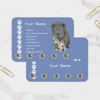 Chinese Shar-Pei on Country Blue with Pawprints Business Card