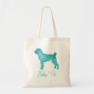 Chinese Shar Pei Watercolor Design Budget Tote Bag