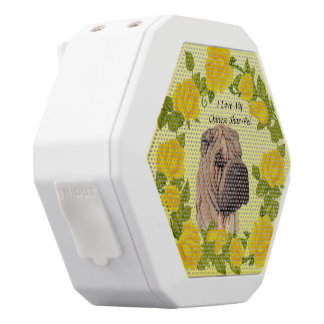 Chinese Shar-Pei with Yellow Roses White Bluetooth Speaker