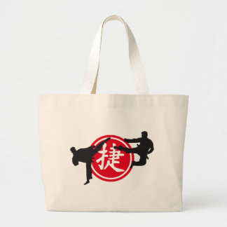 Chinese sign and carats more fighter large tote bag
