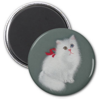 Chinese Silk Picture White Cat 6 Cm Round Magnet