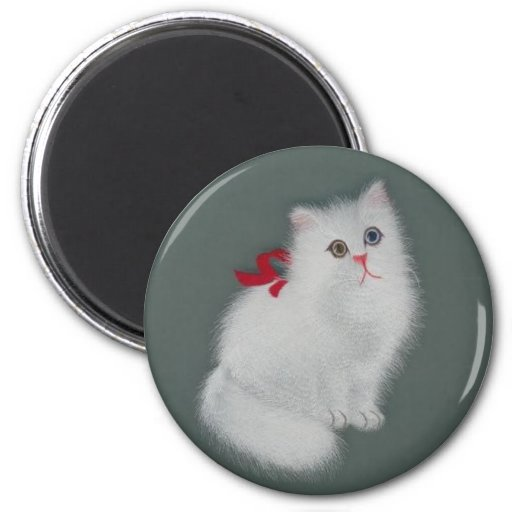 Chinese Silk Picture White Cat Fridge Magnet