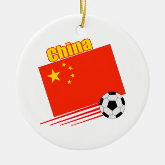 Chinese Soccer Team Double-Sided Ceramic Round Christmas Ornament