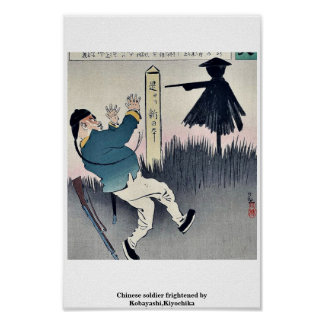 Chinese soldier frightened by Kobayashi,Kiyochika Posters