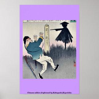 Chinese soldier frightened by Kobayashi,Kiyochika Print
