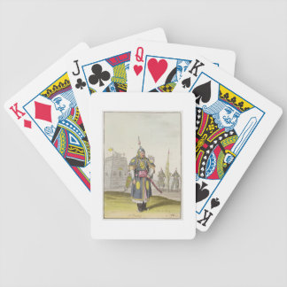Chinese soldier in full battle dress, illustration bicycle playing cards