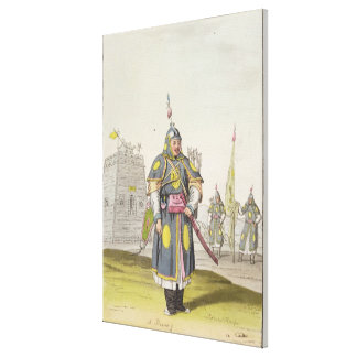 Chinese soldier in full battle dress, illustration canvas print