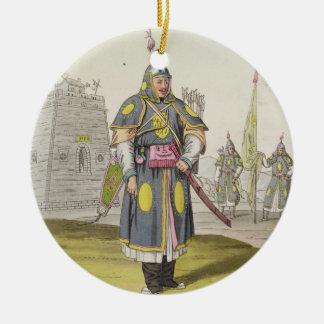 Chinese soldier in full battle dress, illustration round ceramic decoration