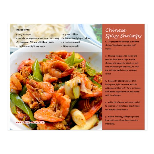 Chinese Spicy Shrimps Recipe Postcard