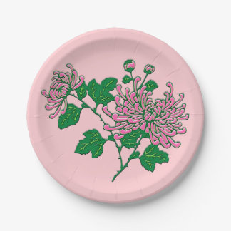 Chinese spider chrysanthemums  - soft pink 7 inch paper plate
