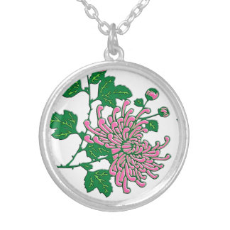 Chinese spider chrysanthemums  - soft pink round pendant necklace