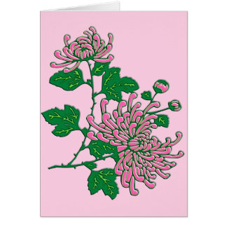 Chinese spider chrysanthemums  - soft pink note card