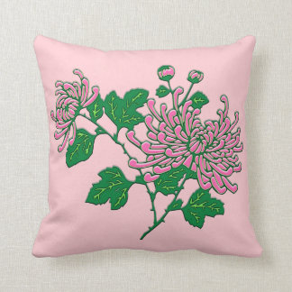 Chinese spider chrysanthemums  - soft pink throw cushions