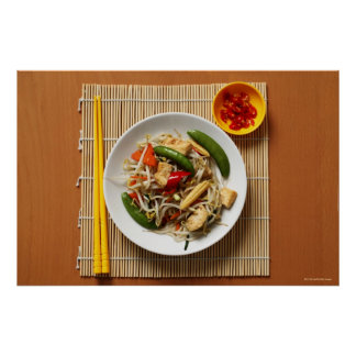 Chinese stir fried vegetables with chillies poster