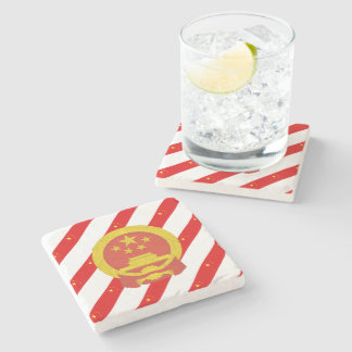 Chinese stripes flag stone coaster