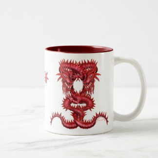 Chinese Style Double Red Dragons Two-Tone Coffee Mug