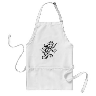 Chinese swirl floral design apron