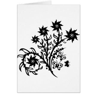 Chinese swirl floral design card