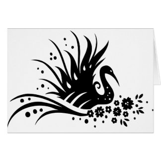 Chinese swirl floral design greeting card